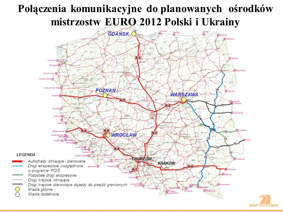 Połączenia komunikacyjne do planowanych ośrodków mistrzostw EURO 2012 Polski i Ukrainy