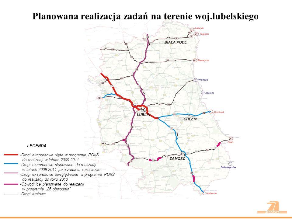 Planowana realizacja zadań na terenie woj.lubelskiego