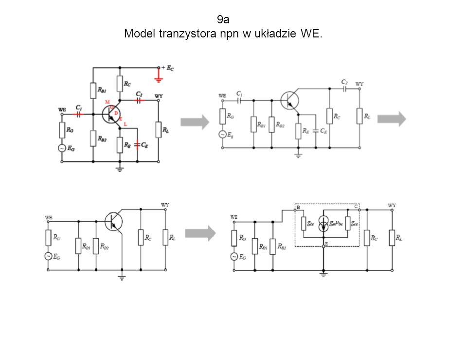 Model tranzystora npn w układzie WE.