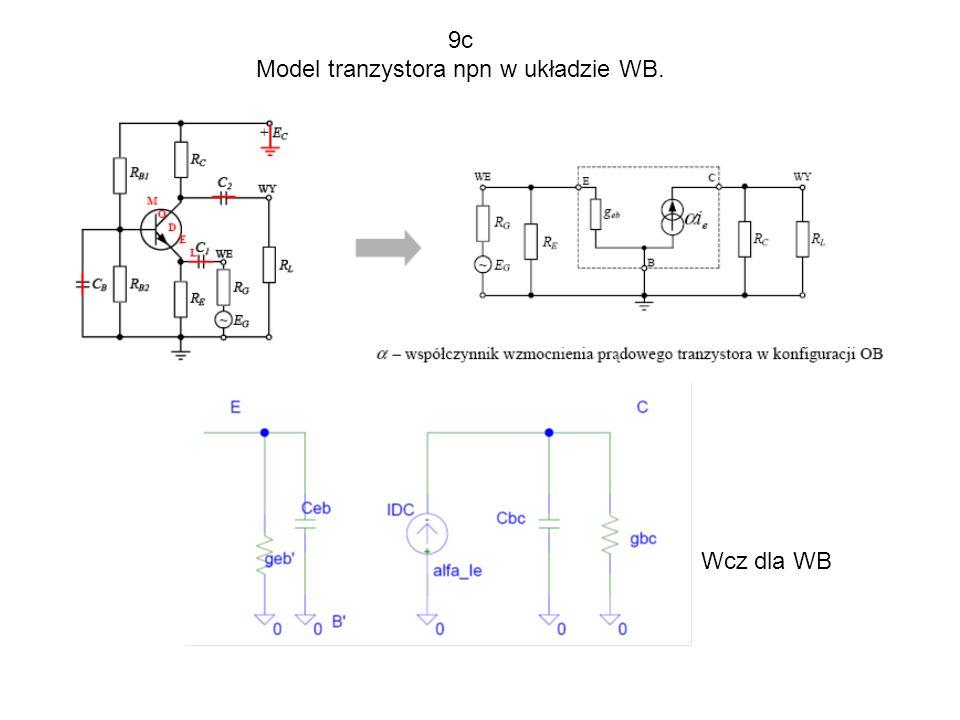 Model tranzystora npn w układzie WB.
