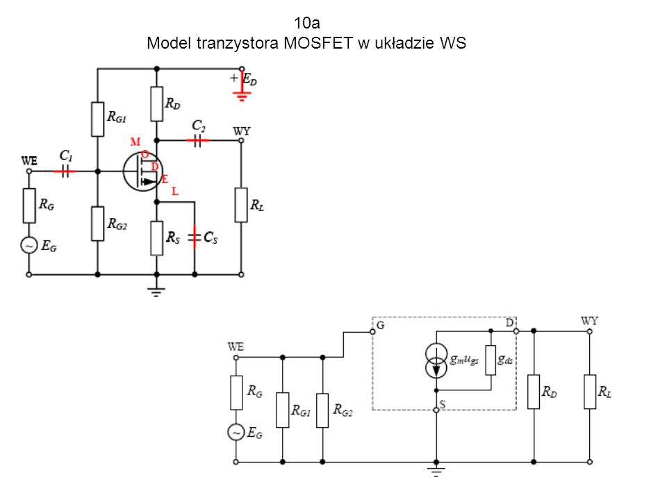 Model tranzystora MOSFET w układzie WS