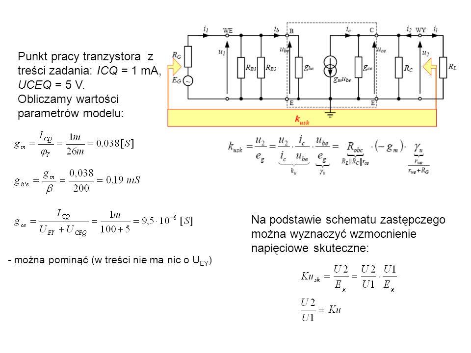 Punkt pracy tranzystora z treści zadania: ICQ = 1 mA, UCEQ = 5 V.