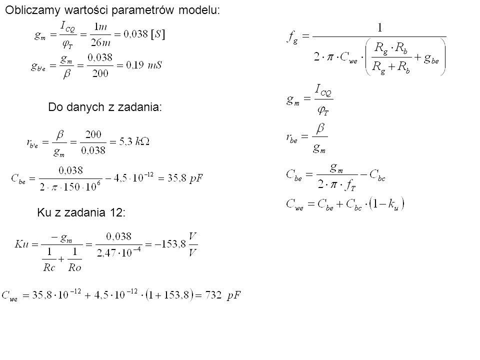 Obliczamy wartości parametrów modelu: