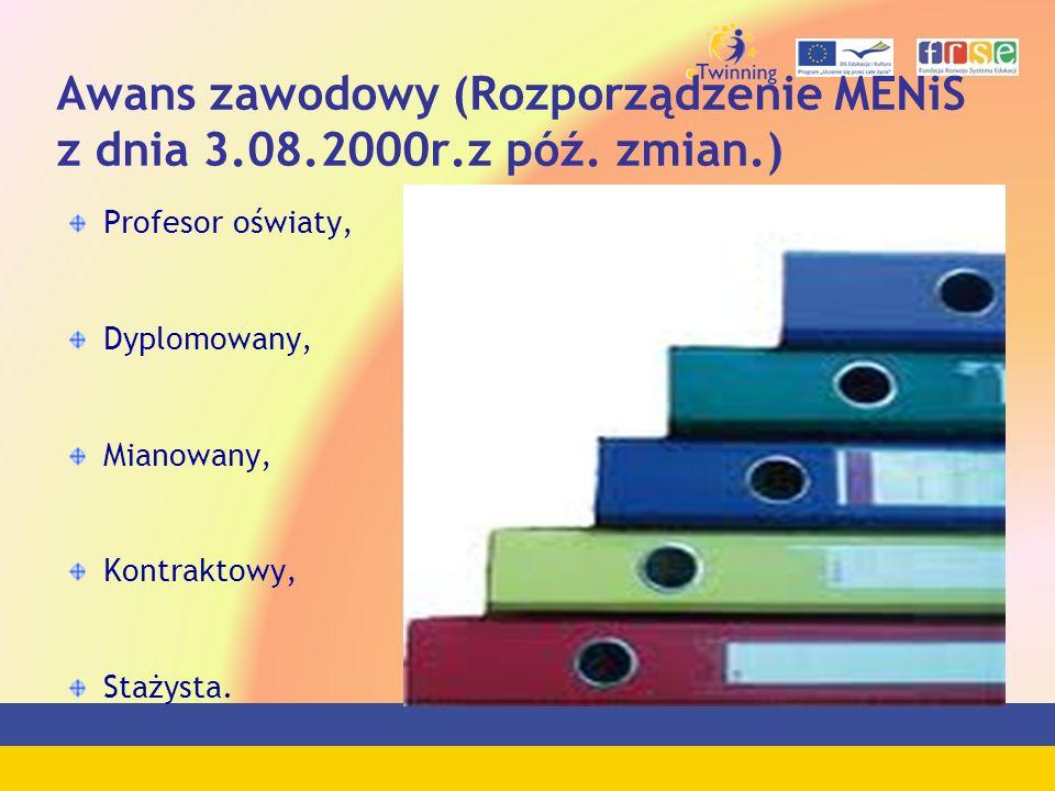 Awans zawodowy (Rozporządzenie MENiS z dnia 3.08.2000r.z póź. zmian.)