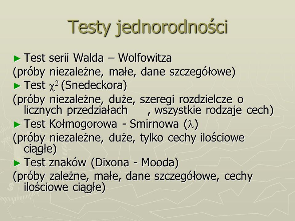 Testy jednorodności Test serii Walda – Wolfowitza