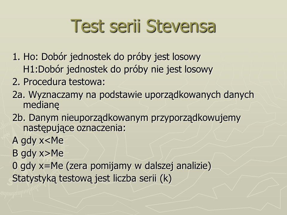 Test serii Stevensa 1. Ho: Dobór jednostek do próby jest losowy