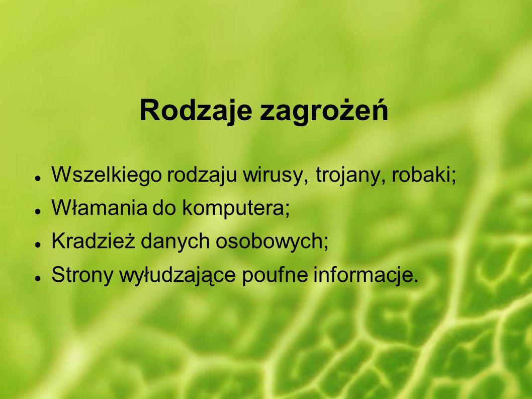 Rodzaje zagrożeń Wszelkiego rodzaju wirusy, trojany, robaki;