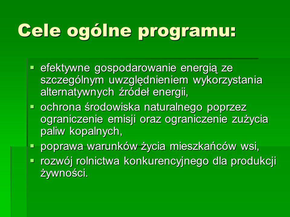 Cele ogólne programu:efektywne gospodarowanie energią ze szczególnym uwzględnieniem wykorzystania alternatywnych źródeł energii,