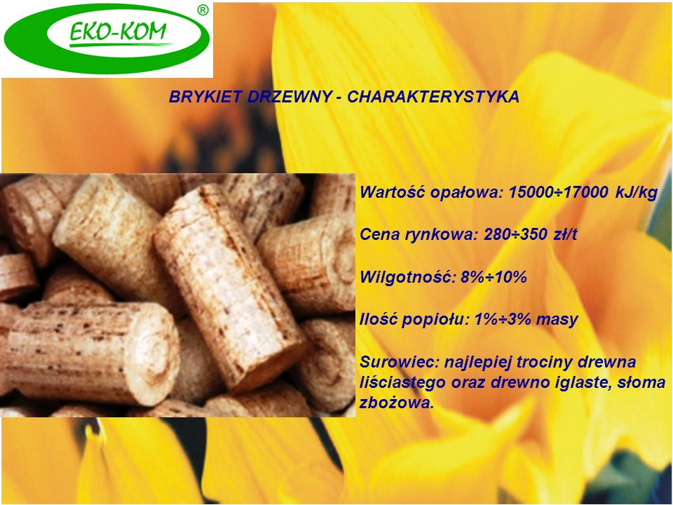 BRYKIET DRZEWNY - CHARAKTERYSTYKA