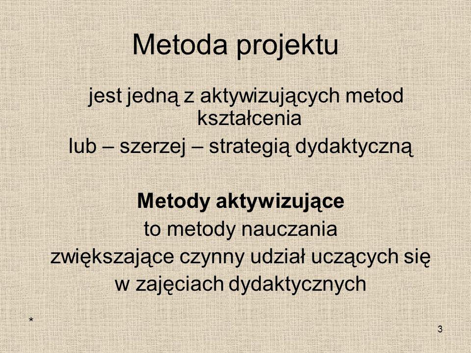 Metoda projektu jest jedną z aktywizujących metod kształcenia