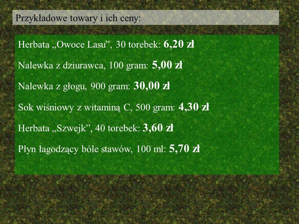 Przykładowe towary i ich ceny: