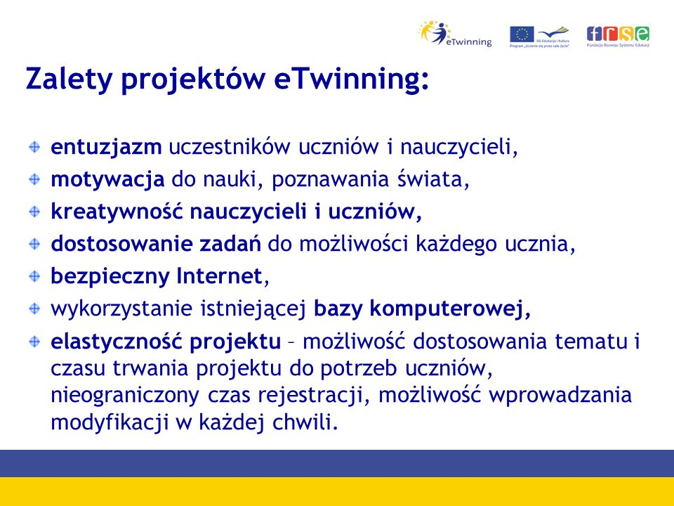 Zalety projektów eTwinning: