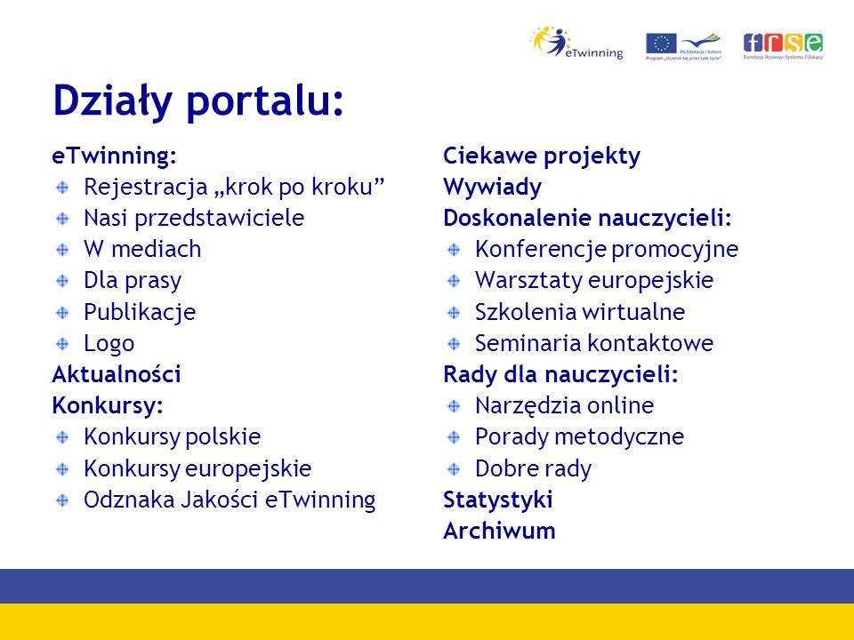 """Działy portalu: eTwinning: Rejestracja """"krok po kroku"""