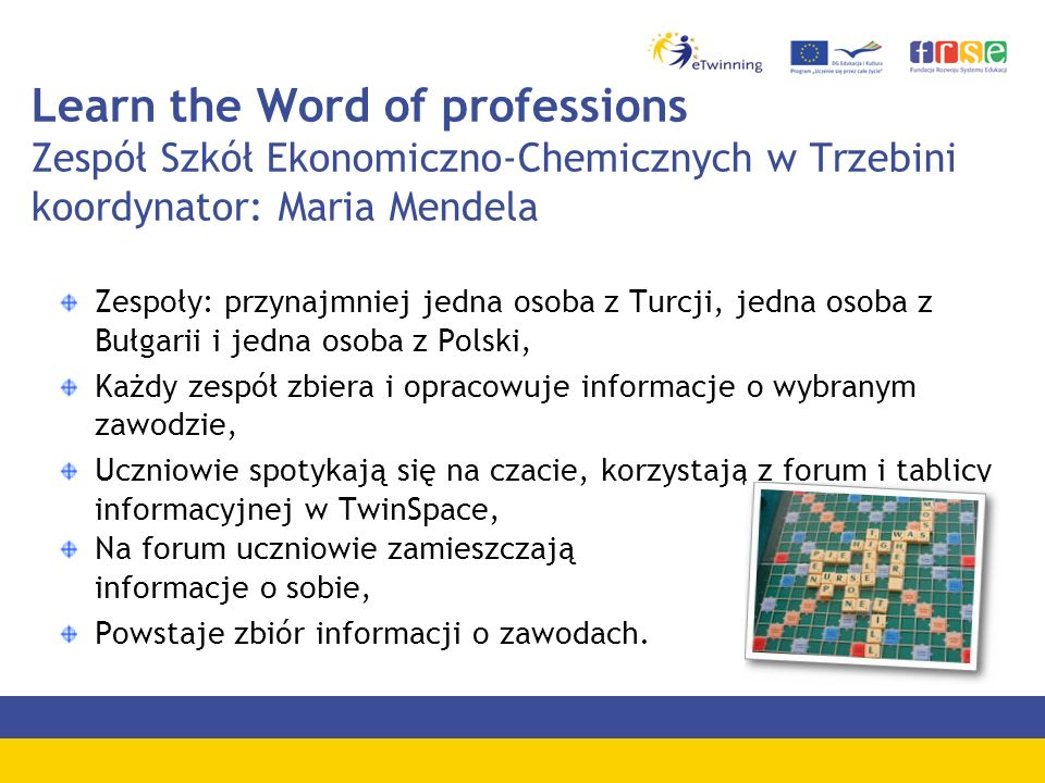 Learn the Word of professions Zespół Szkół Ekonomiczno-Chemicznych w Trzebini koordynator: Maria Mendela