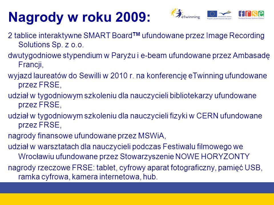 Nagrody w roku 2009:2 tablice interaktywne SMART BoardTM ufundowane przez Image Recording Solutions Sp. z o.o.