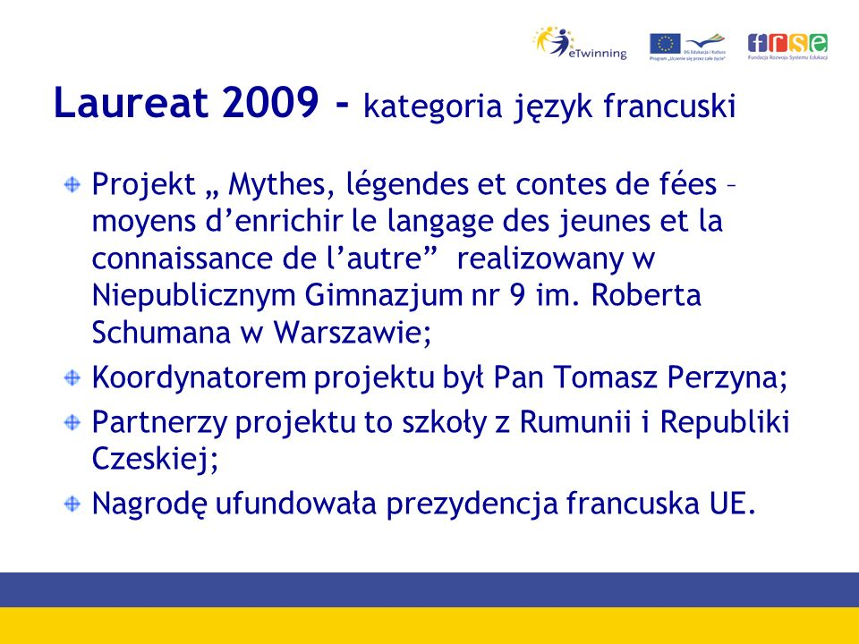Laureat 2009 - kategoria język francuski