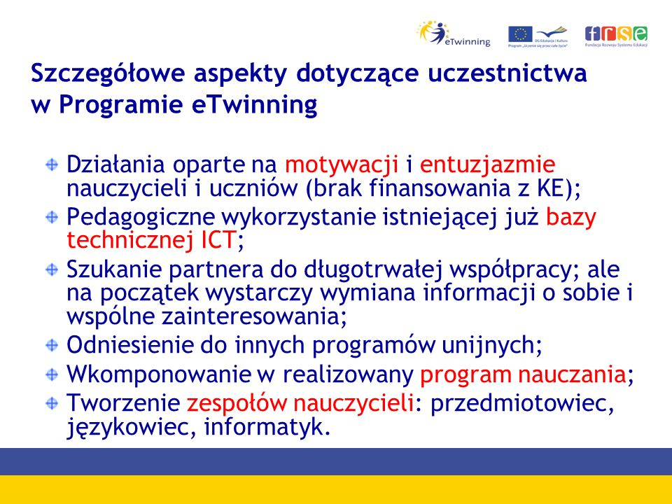 Szczegółowe aspekty dotyczące uczestnictwa w Programie eTwinning
