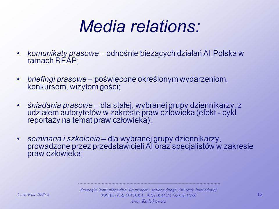 Media relations: komunikaty prasowe – odnośnie bieżących działań AI Polska w ramach REAP;