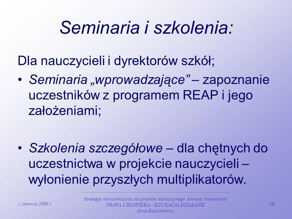 Seminaria i szkolenia:
