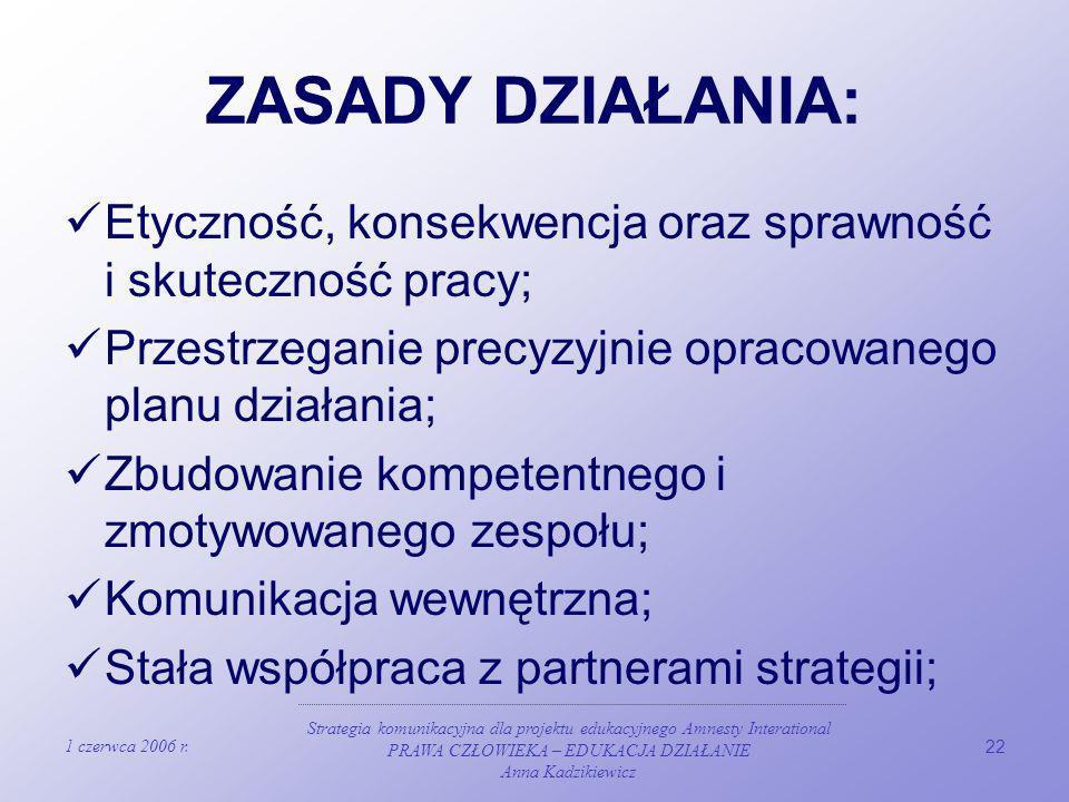 ZASADY DZIAŁANIA: Etyczność, konsekwencja oraz sprawność i skuteczność pracy; Przestrzeganie precyzyjnie opracowanego planu działania;