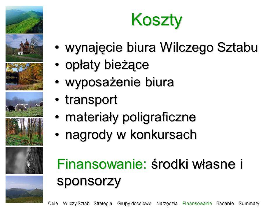 Koszty Finansowanie: środki własne i sponsorzy