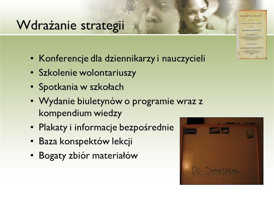 Wdrażanie strategii Konferencje dla dziennikarzy i nauczycieli