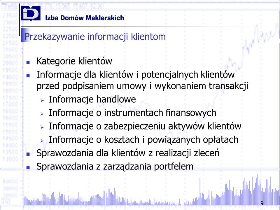Przekazywanie informacji klientom