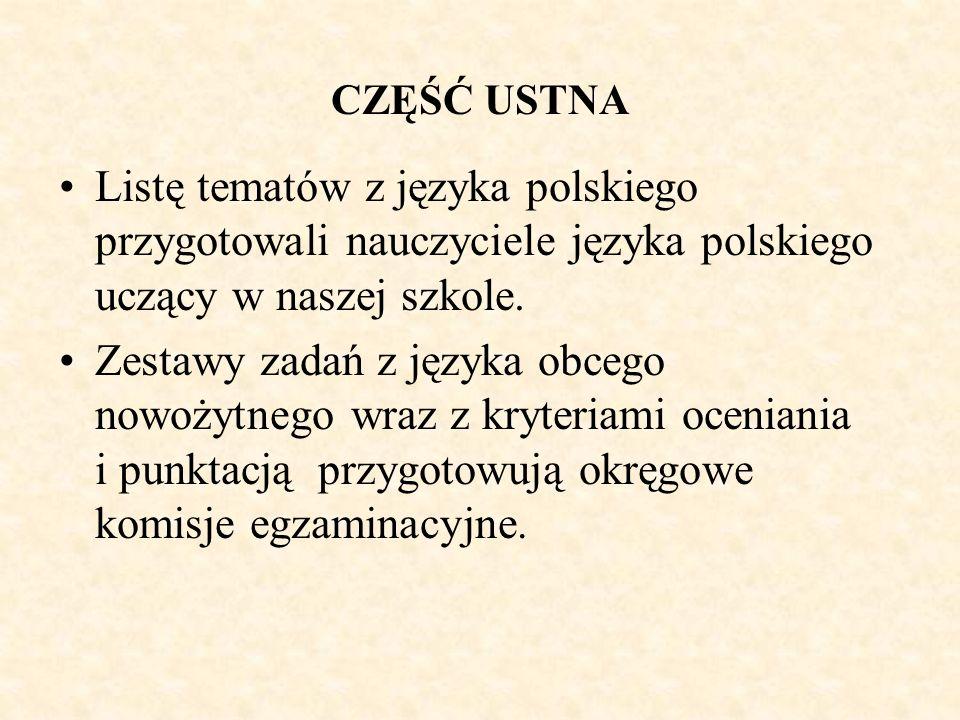 CZĘŚĆ USTNA Listę tematów z języka polskiego przygotowali nauczyciele języka polskiego uczący w naszej szkole.