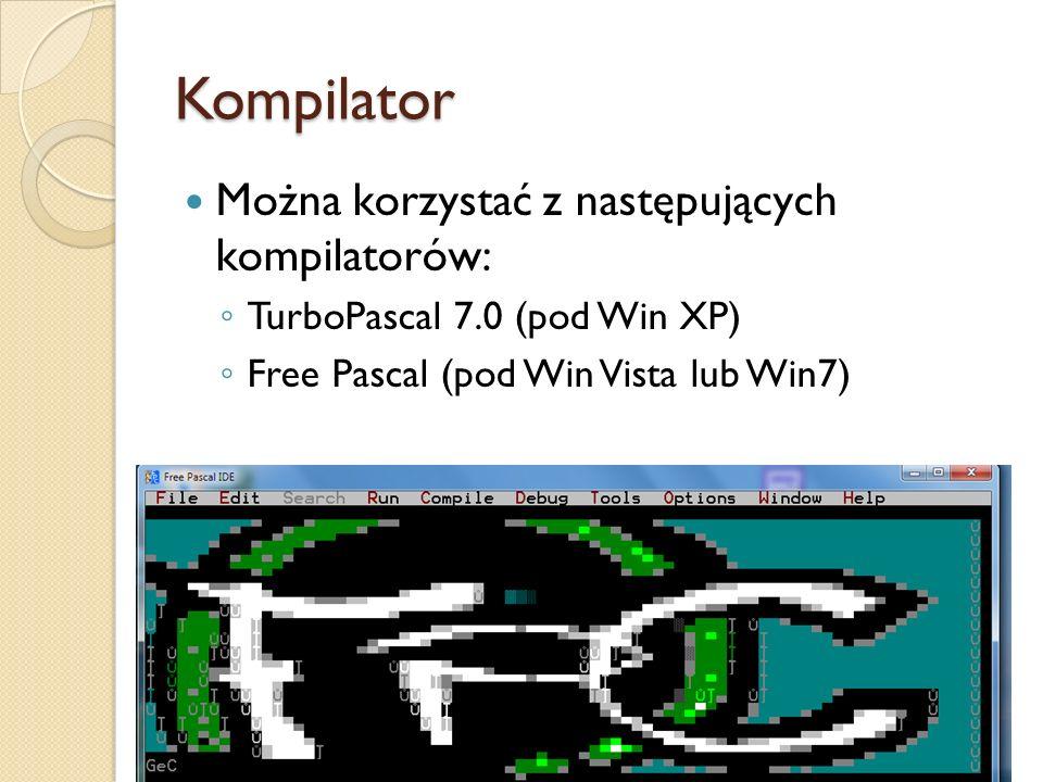 Kompilator Można korzystać z następujących kompilatorów: