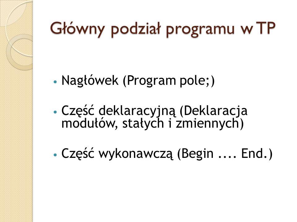 Główny podział programu w TP