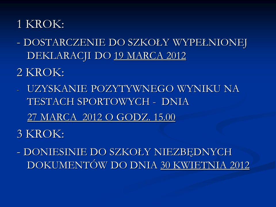 - DOSTARCZENIE DO SZKOŁY WYPEŁNIONEJ DEKLARACJI DO 19 MARCA 2012