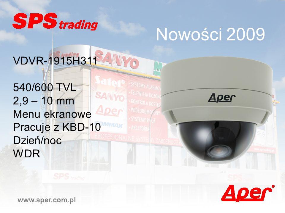 Nowości 2009 VDVR-1915H311 540/600 TVL 2,9 – 10 mm Menu ekranowe