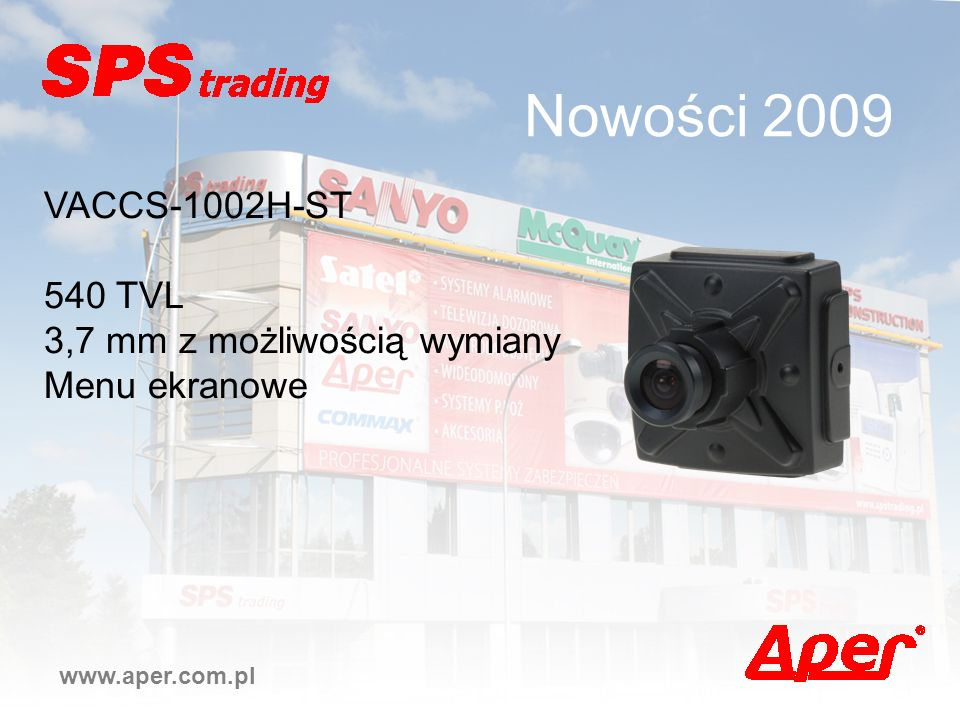 Nowości 2009 VACCS-1002H-ST 540 TVL 3,7 mm z możliwością wymiany
