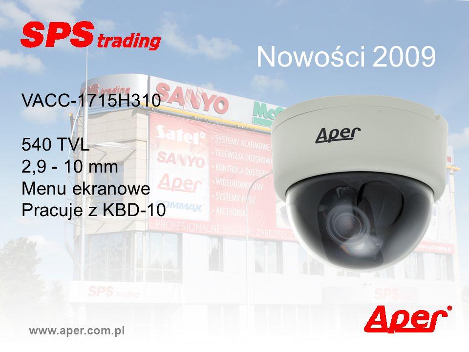 Nowości 2009 VACC-1715H310 540 TVL 2,9 - 10 mm Menu ekranowe