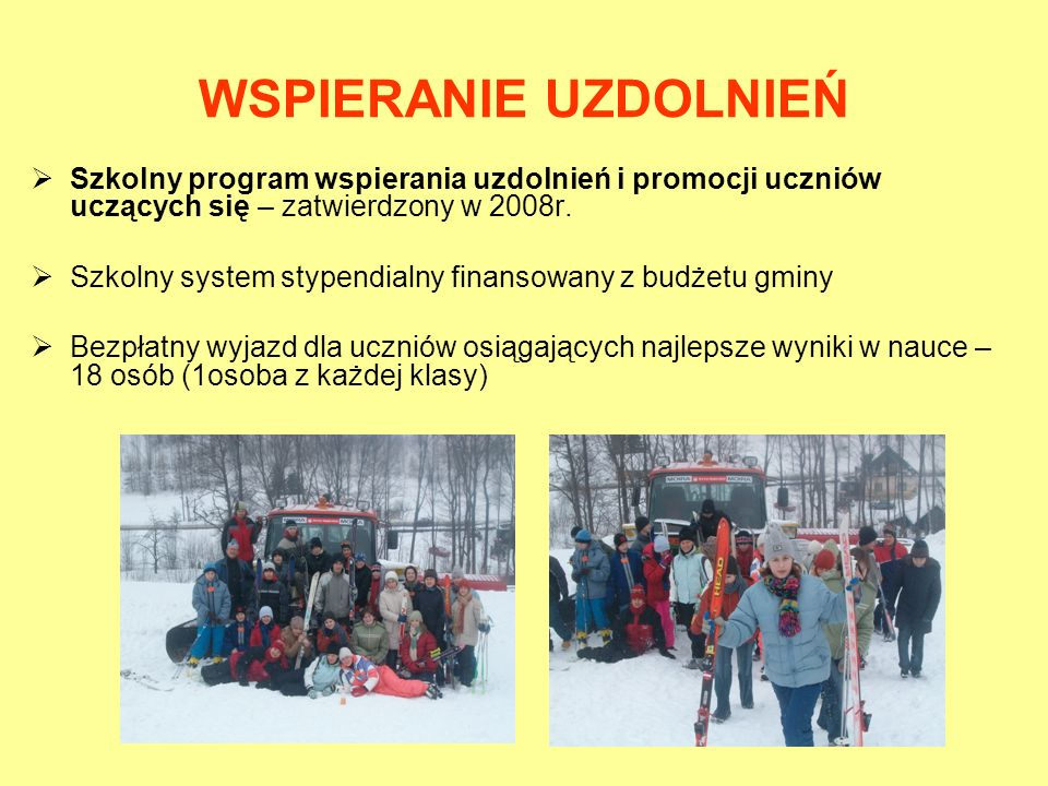 WSPIERANIE UZDOLNIEŃ Szkolny program wspierania uzdolnień i promocji uczniów uczących się – zatwierdzony w 2008r.