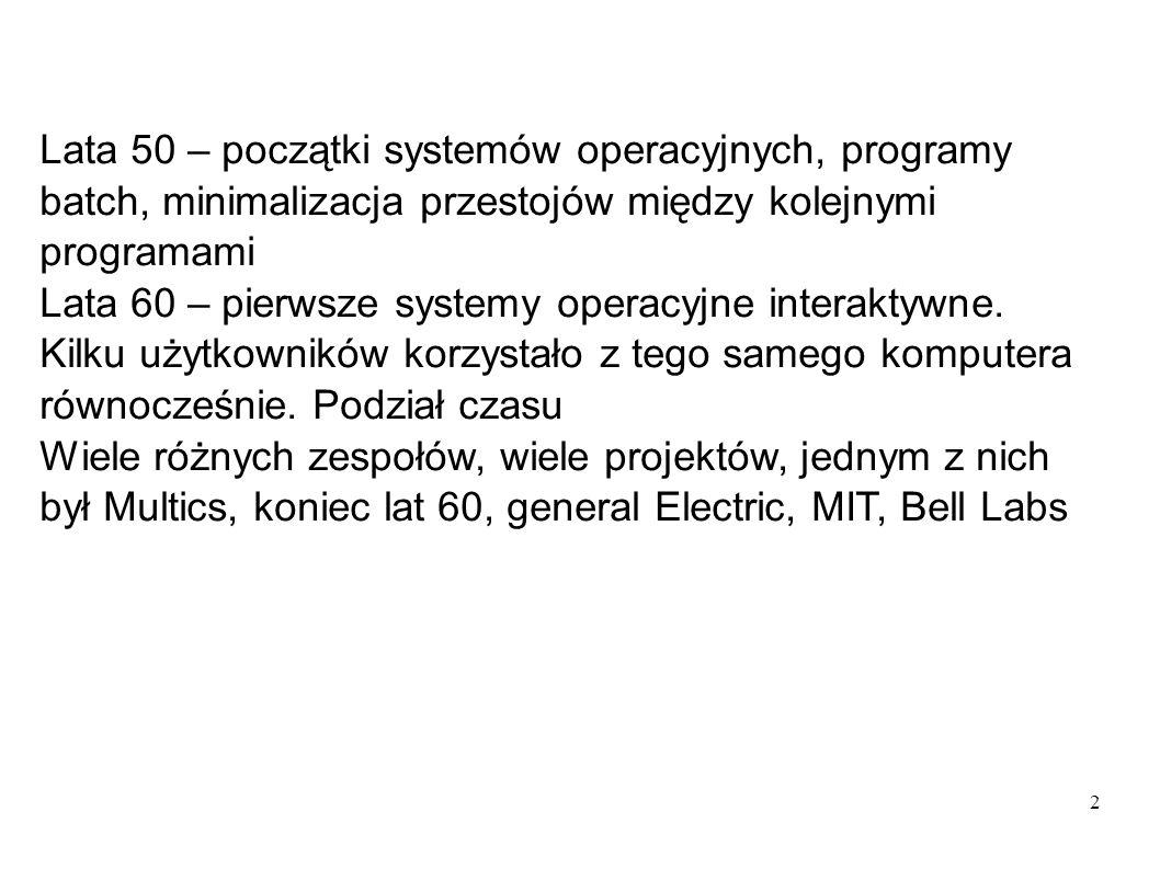 Lata 50 – początki systemów operacyjnych, programy batch, minimalizacja przestojów między kolejnymi programami
