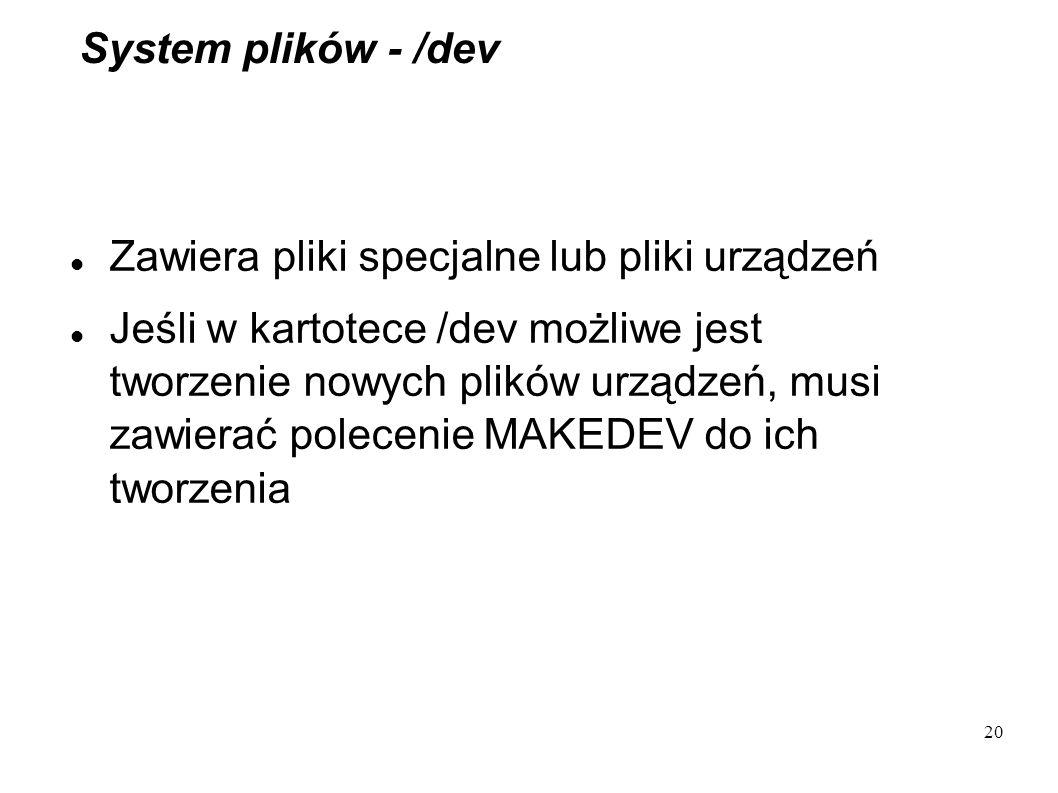 System plików - /dev Zawiera pliki specjalne lub pliki urządzeń.