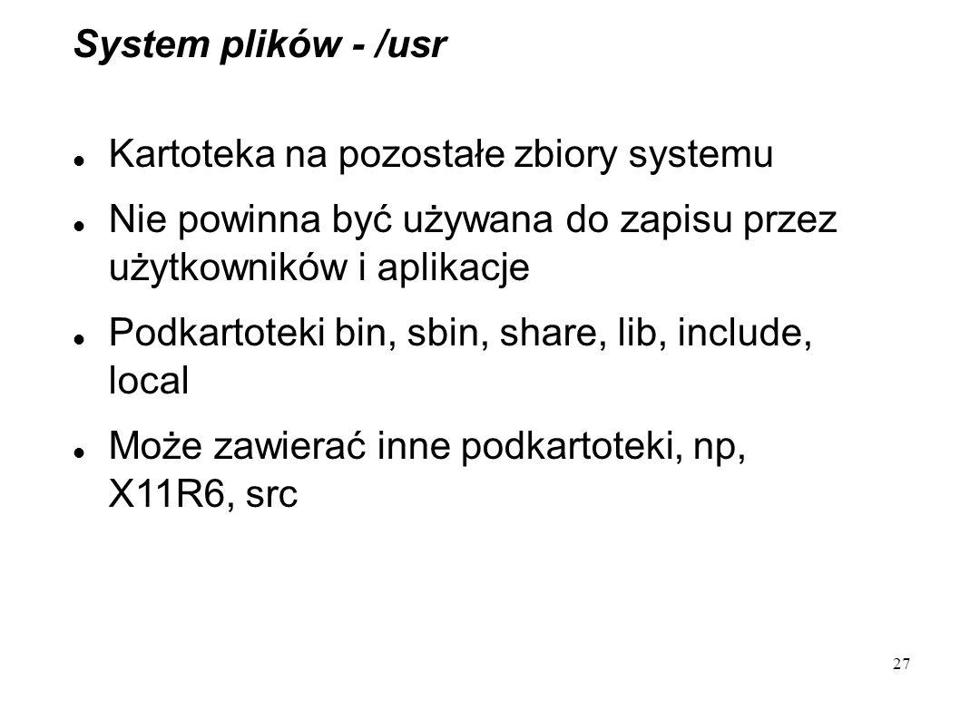 System plików - /usr Kartoteka na pozostałe zbiory systemu. Nie powinna być używana do zapisu przez użytkowników i aplikacje.