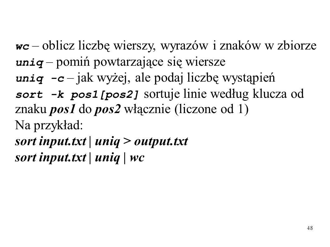sort input.txt | uniq > output.txt sort input.txt | uniq | wc