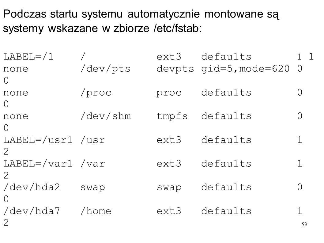 Podczas startu systemu automatycznie montowane są systemy wskazane w zbiorze /etc/fstab:
