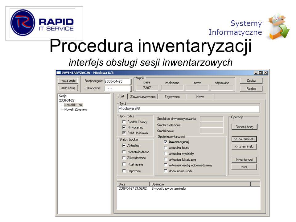 Procedura inwentaryzacji interfejs obsługi sesji inwentarzowych