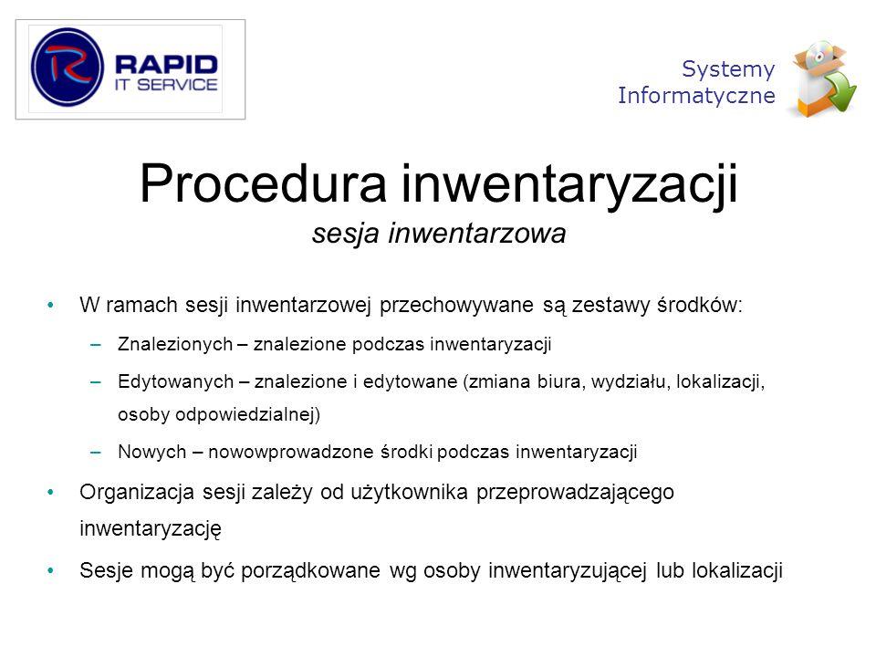 Procedura inwentaryzacji sesja inwentarzowa