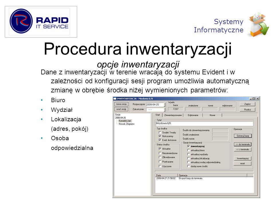Procedura inwentaryzacji opcje inwentaryzacji