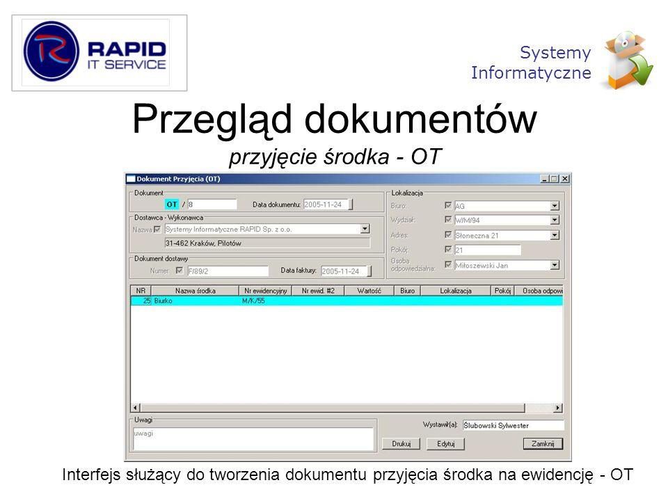 Przegląd dokumentów przyjęcie środka - OT