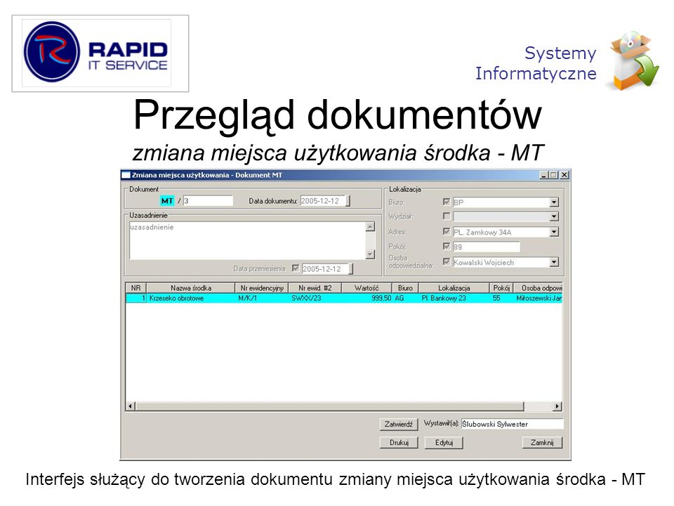 Przegląd dokumentów zmiana miejsca użytkowania środka - MT
