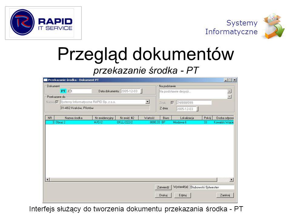 Przegląd dokumentów przekazanie środka - PT