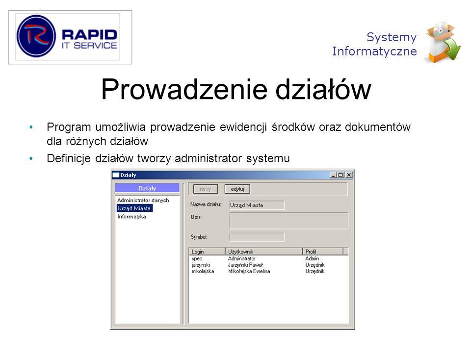 Prowadzenie działów Systemy Informatyczne