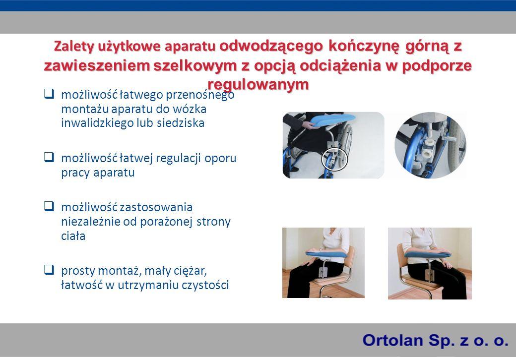 Zalety użytkowe aparatu odwodzącego kończynę górną z zawieszeniem szelkowym z opcją odciążenia w podporze regulowanym