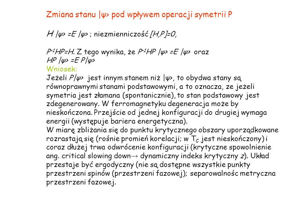 Zmiana stanu |ψ> pod wpływem operacji symetrii P