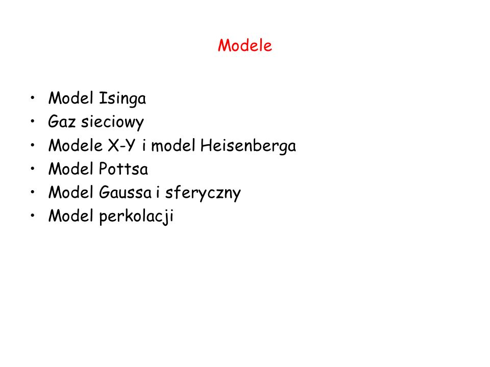 Modele Model Isinga. Gaz sieciowy. Modele X-Y i model Heisenberga. Model Pottsa. Model Gaussa i sferyczny.